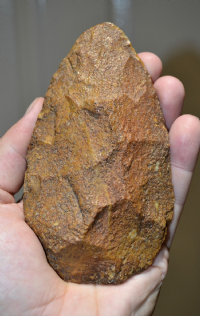 A good sized and super quality Early Paleolithic Mid-Acheulian Handaxe from the Gorgol Region, Senegal River, Mauritania, Africa. SOLD